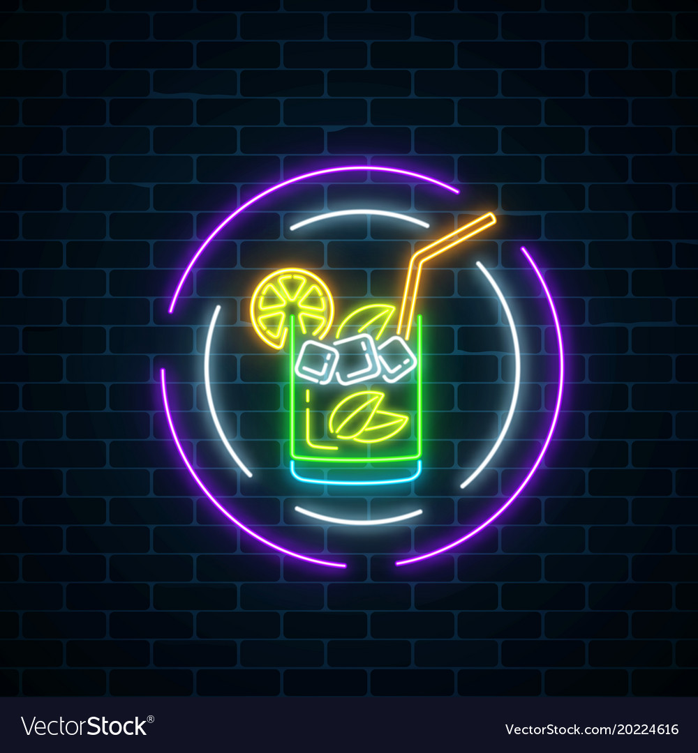 Glow Neon Symbol Of Cocktails Bar In Round Frames Vector Image