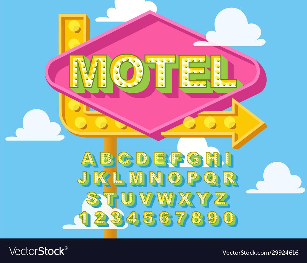 Retro light bulb bright alphabet modern