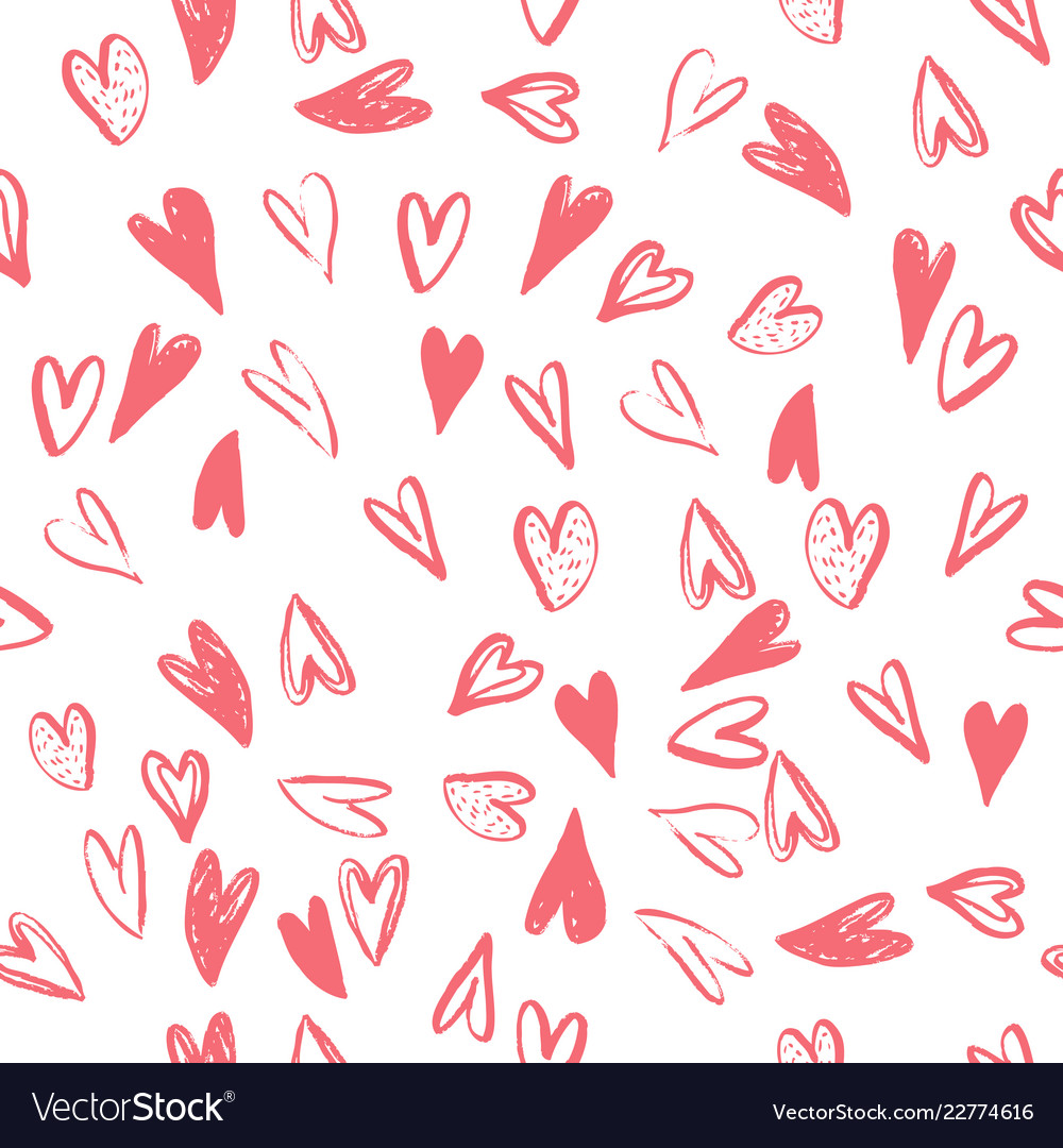 Seamless pattern with hearts handmade art