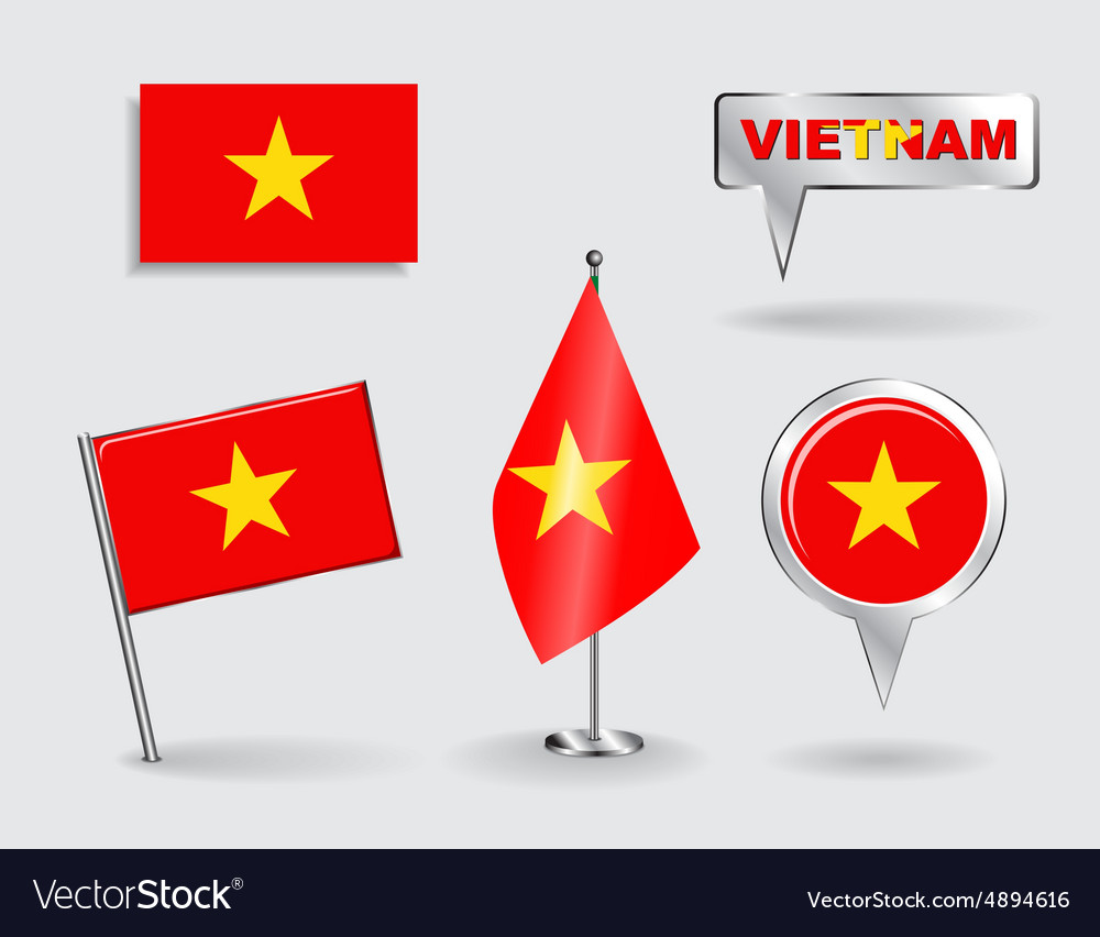 Set of Vietnamese pin icon and map pointer flags