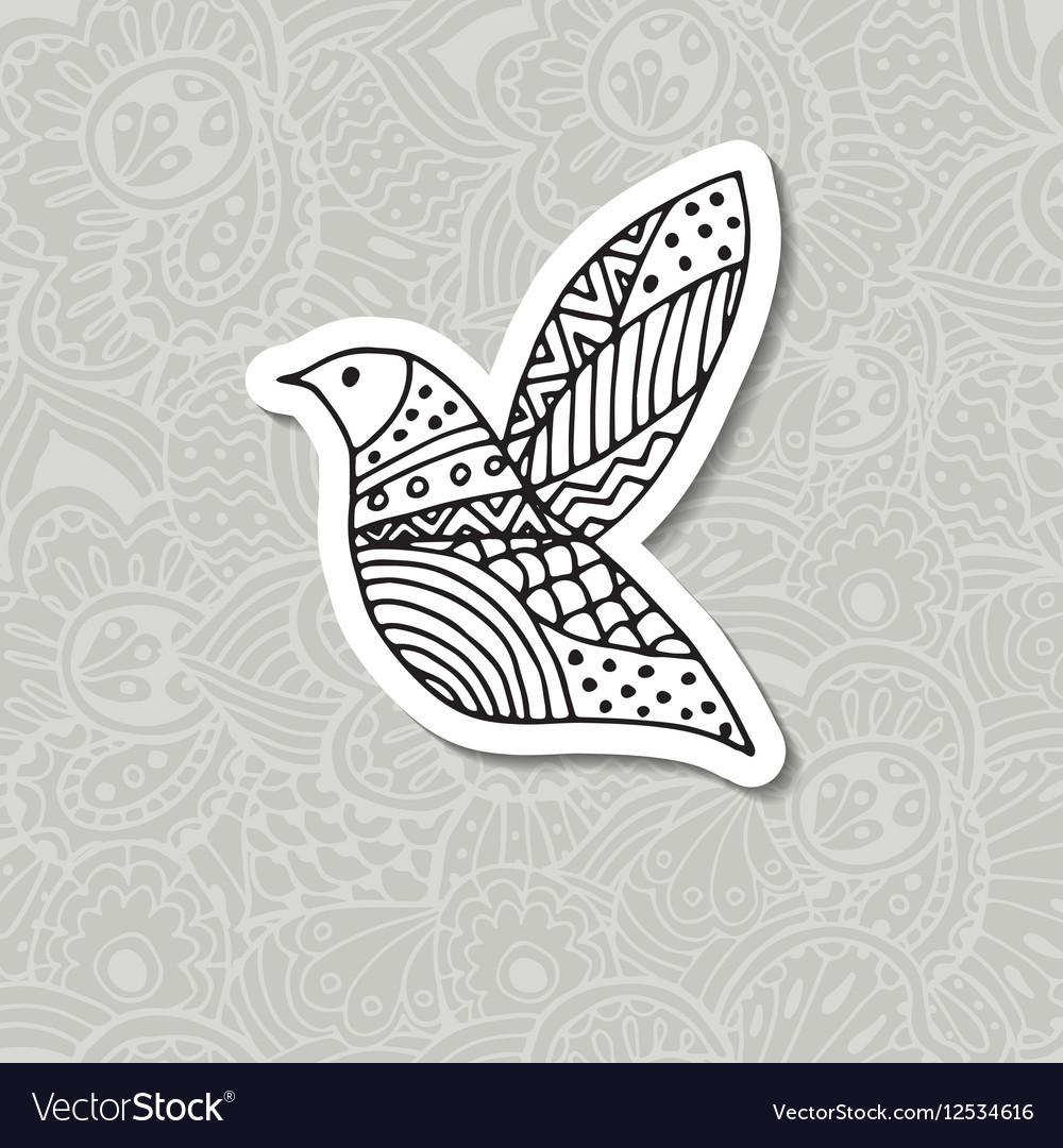 Zentangle stylized bird Hand drawn