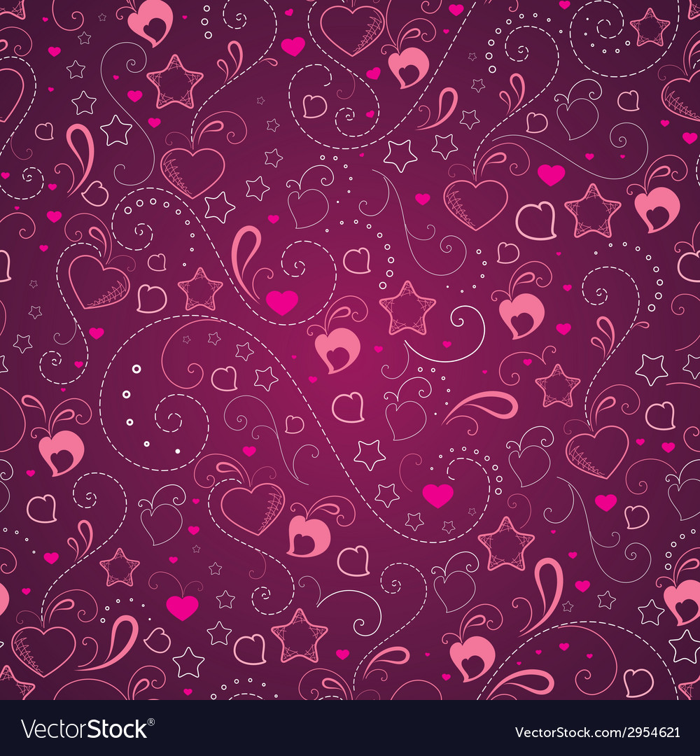 Abstract background with hearts and stars