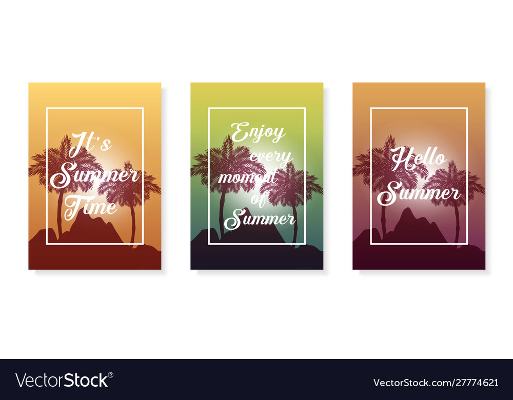 Colorful poster set palm summer background