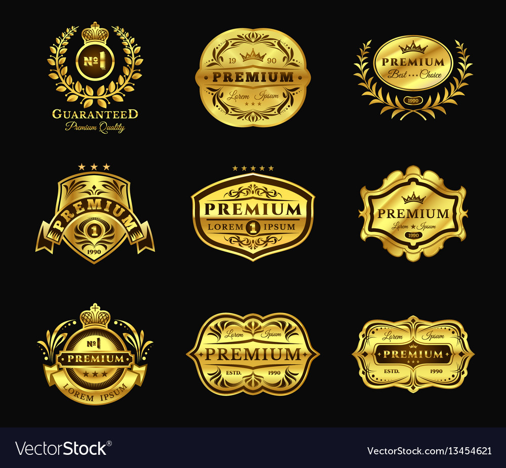 Golden badges stickers premium quality isolated
