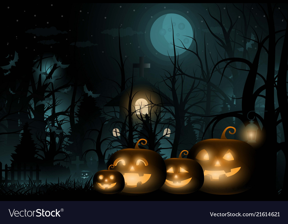 Happy halloween background and scary tree pumpkin
