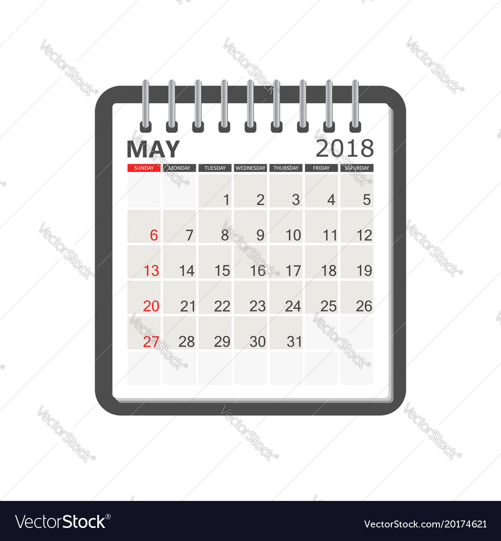 may 2018 calendar calendar notebook page template vector image