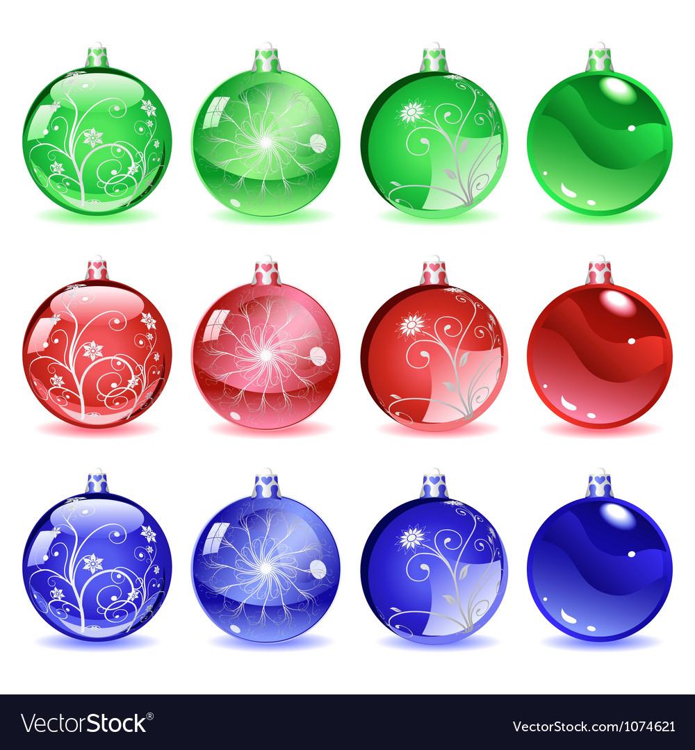 Multicolored Christmas balls Set 2 of 4