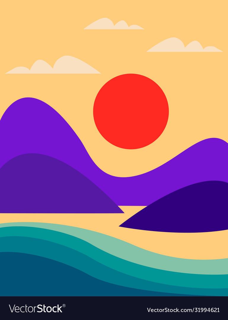 Seascape with mountains sea and orange sun flat