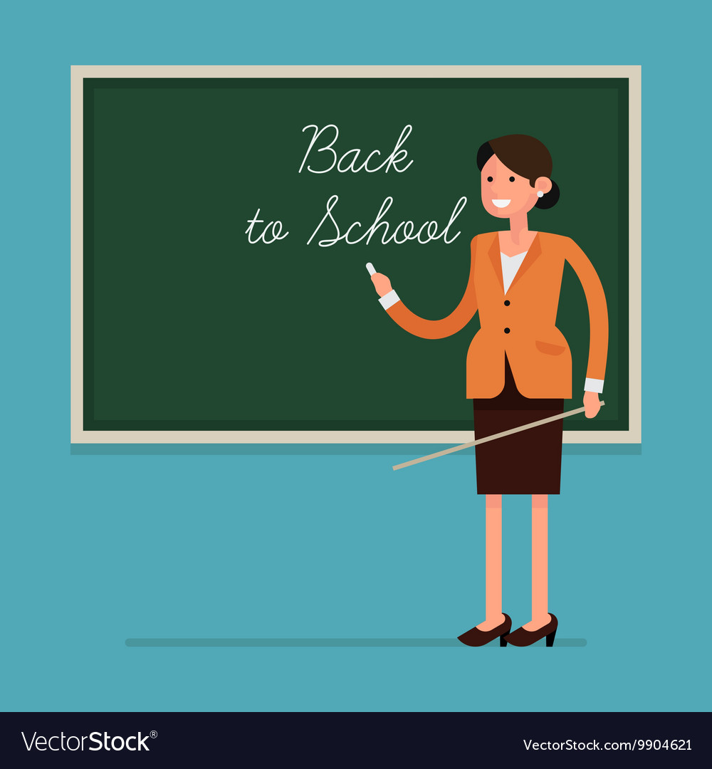 Teacher in a Classroom with a Blackboard