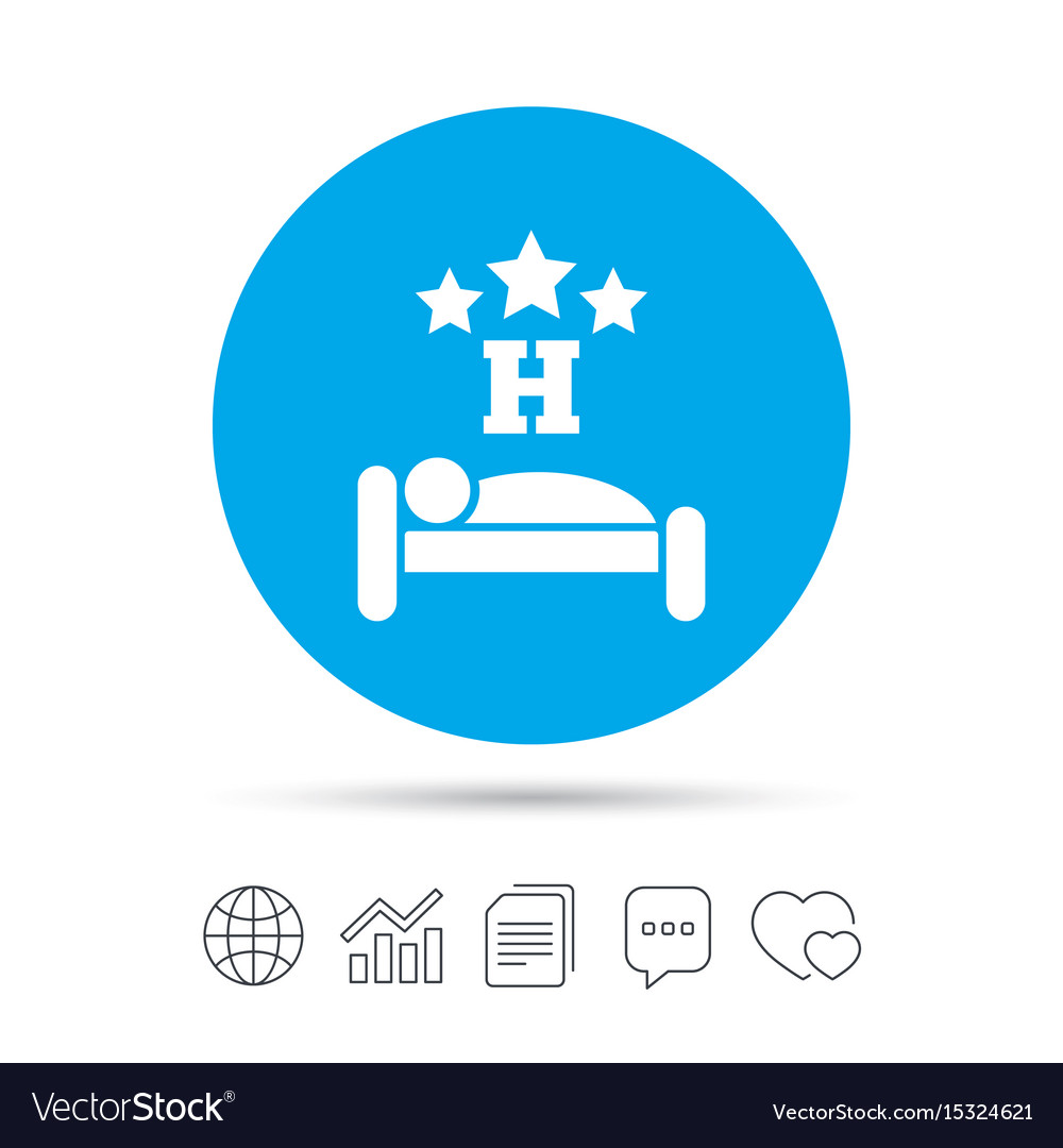 Three Star Hotel Sign Icon Rest Place Royalty Free Vector