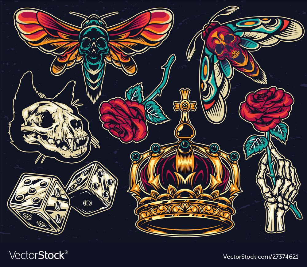 Vintage colorful tattoos collection