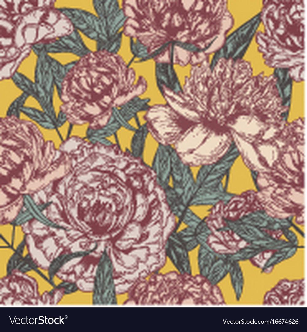 Beautiful detailed peonies seamless pattern hand