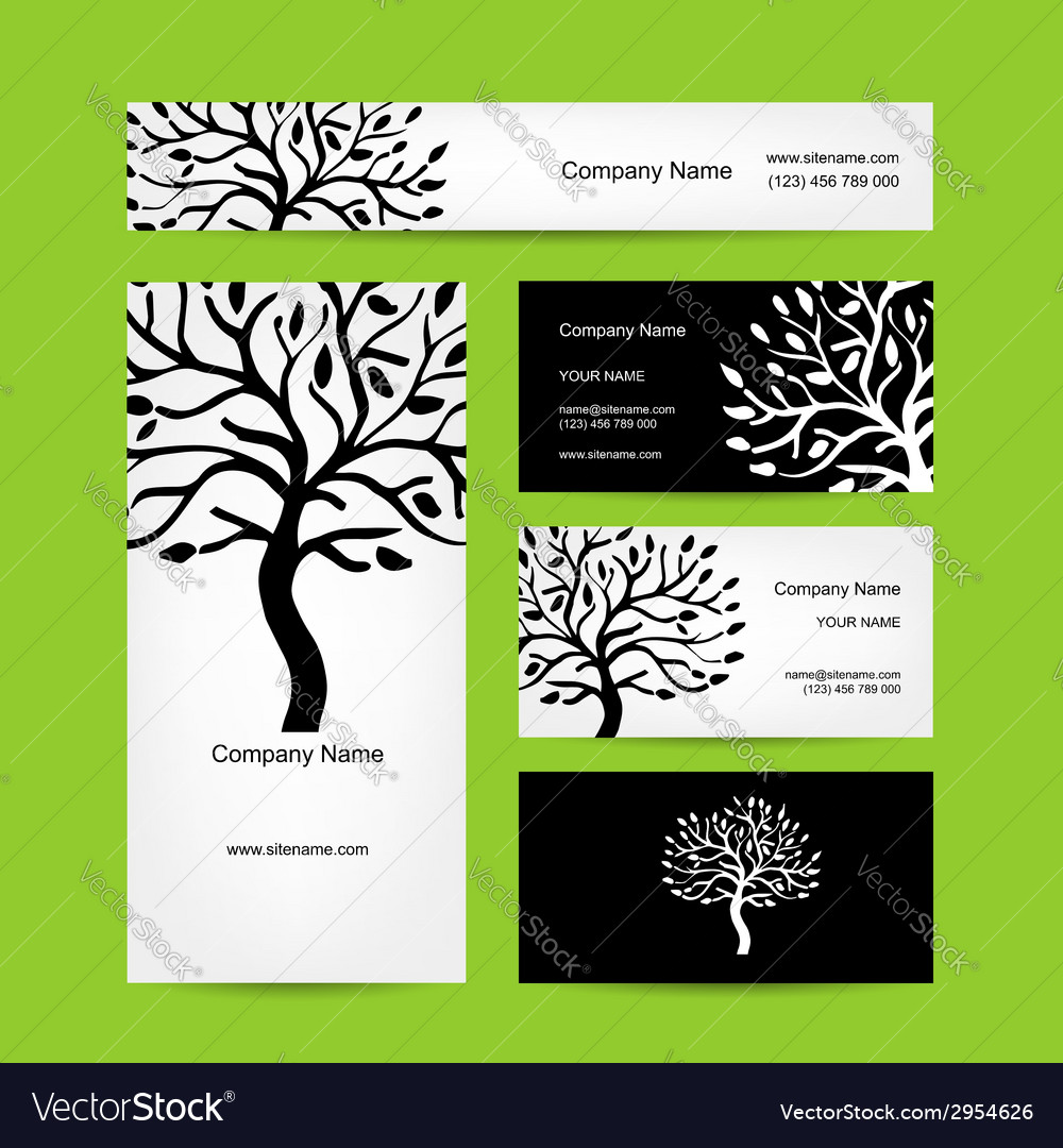Business cards design with abstract tree vector image colourmoves