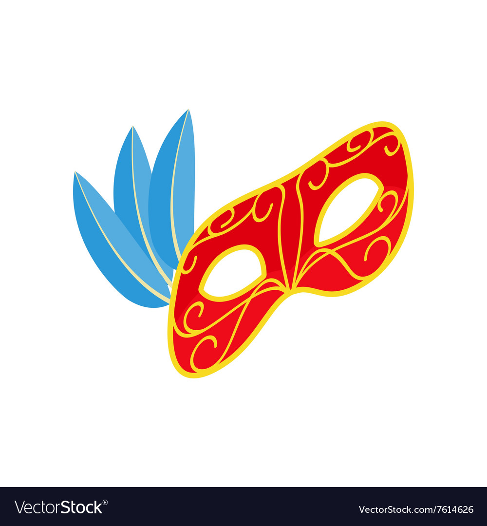Carnival mask with feathers icon isometric 3d