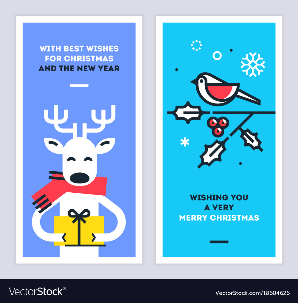 Christmas and new year cards set with reindeer