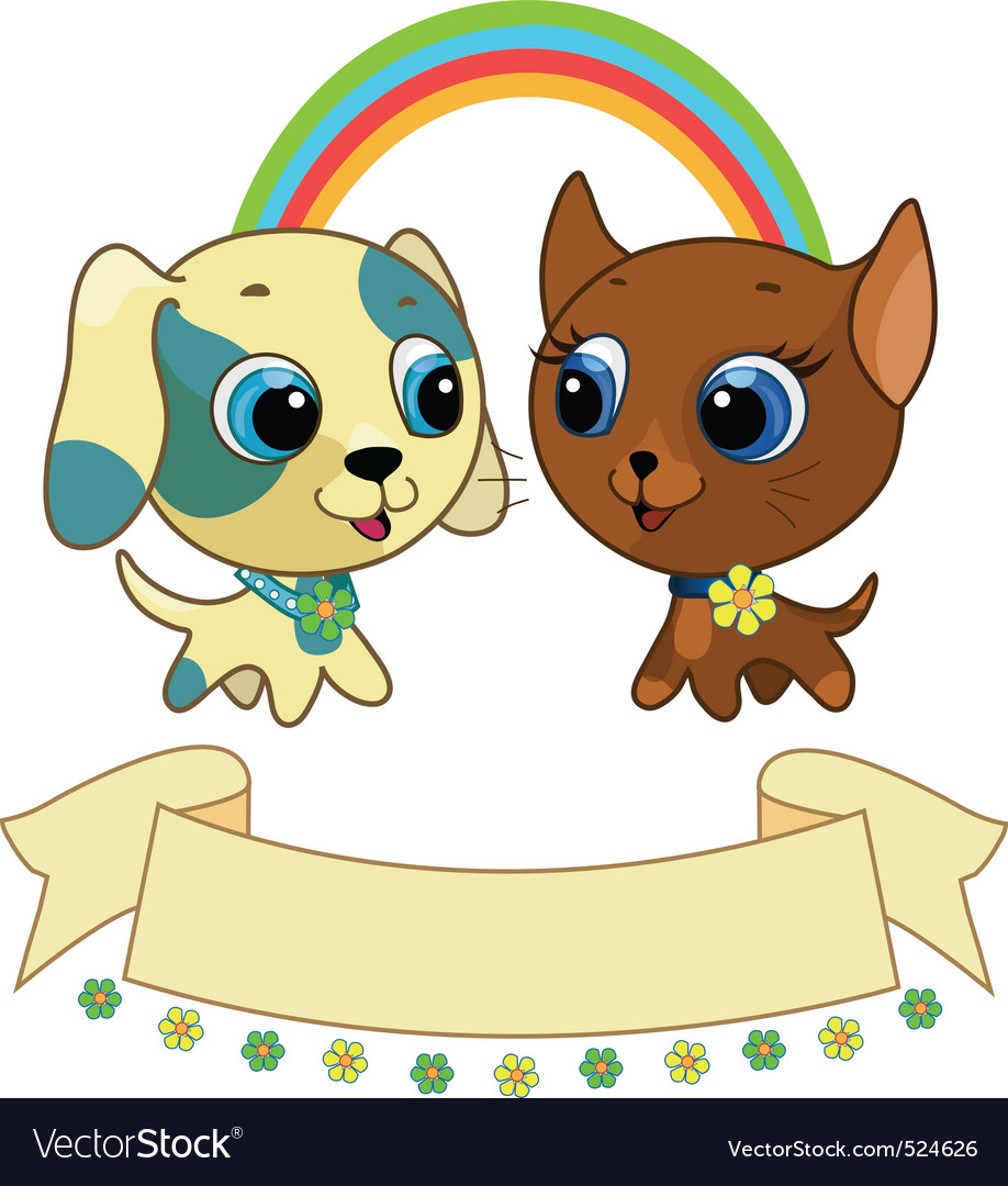 Cute puppy and kitten vector illustration