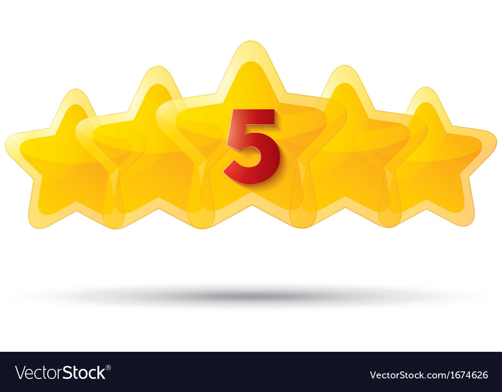 Five golden stars with digit Star icons on white