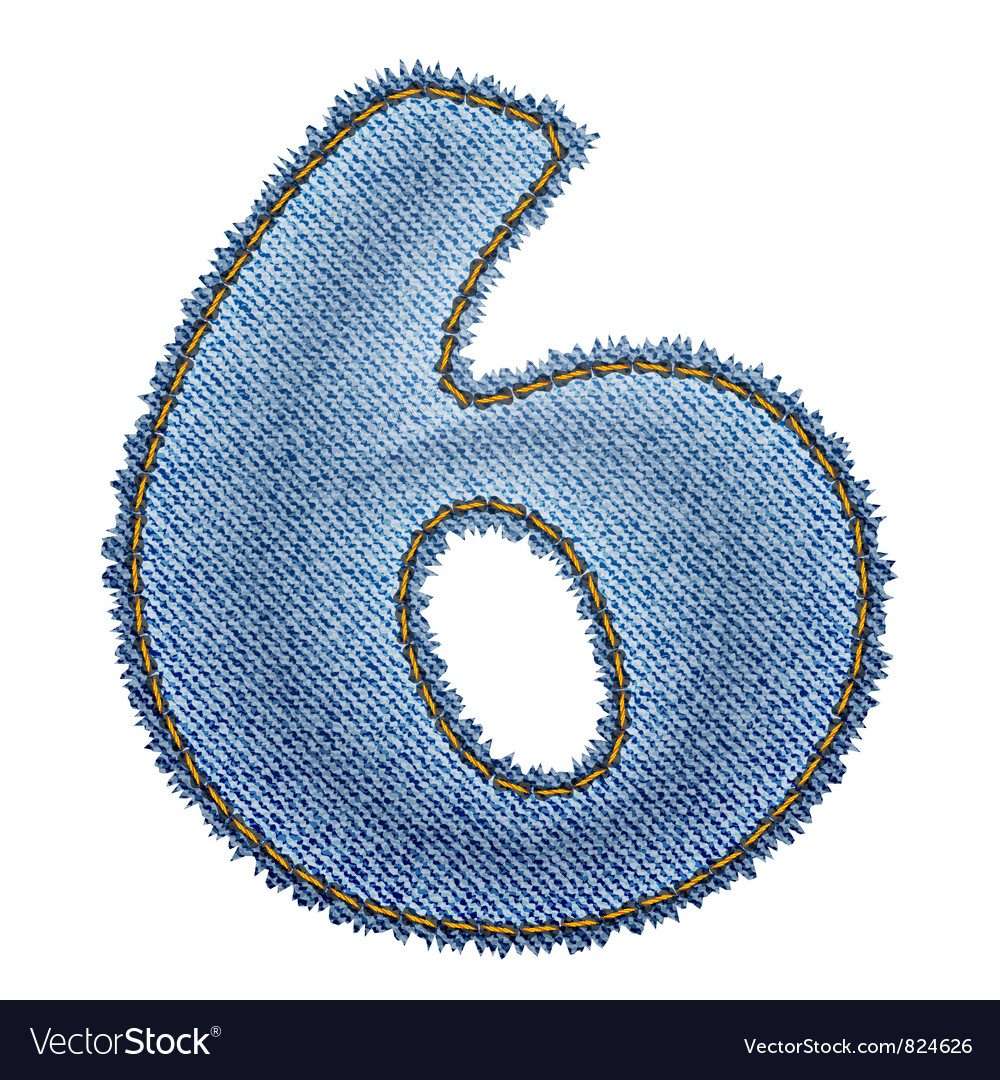 Jeans alphabet Denim number 6 vector image