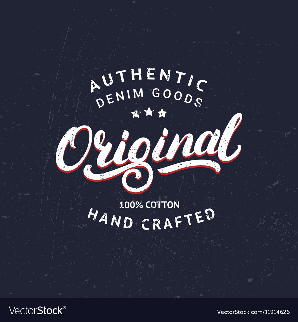Original hand written lettering for label or badge