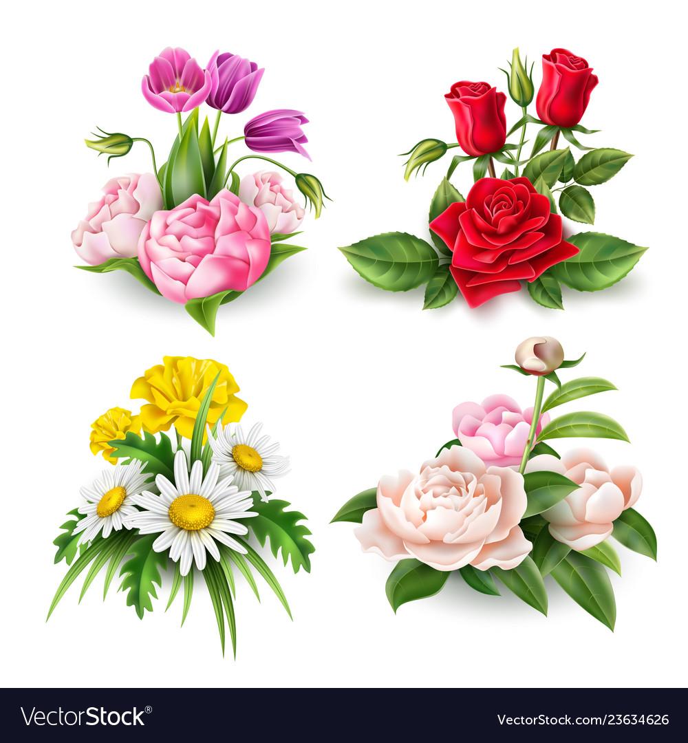 Realistic rose tulip daisy peony bouquet