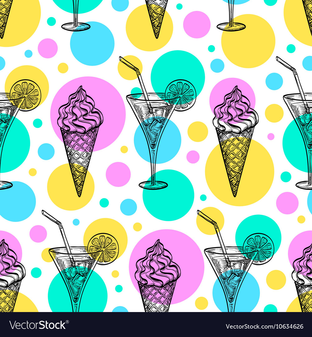 Seamless pattern with ice cream and tankard