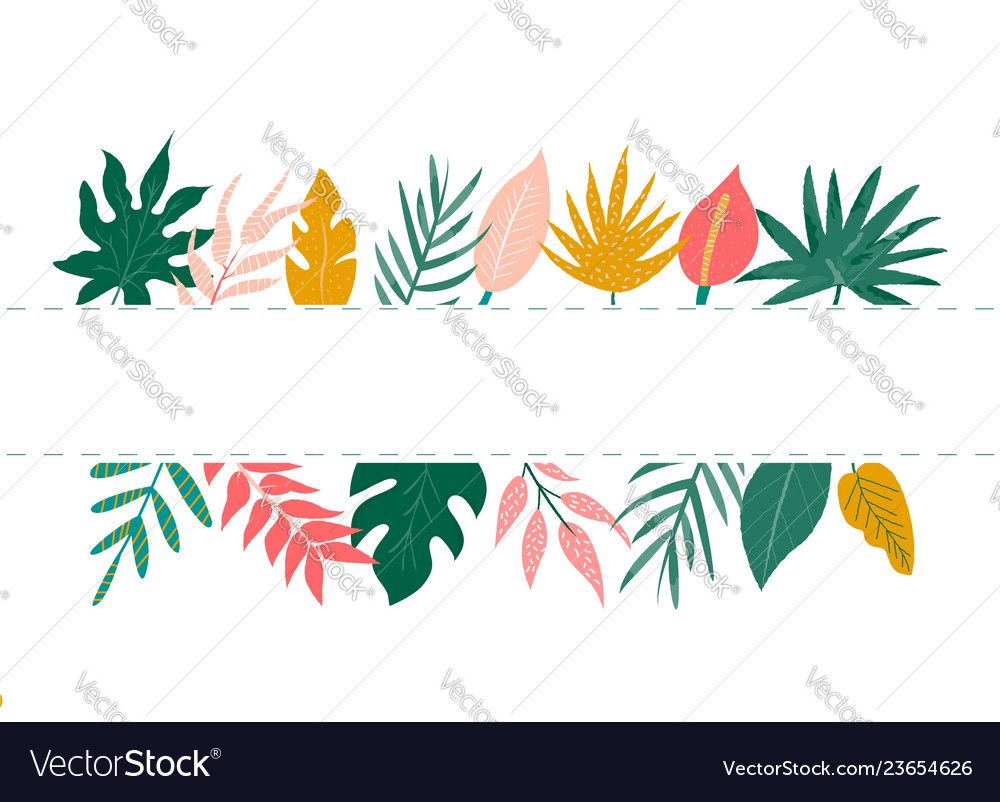 Trendy summer tropical leaves banner