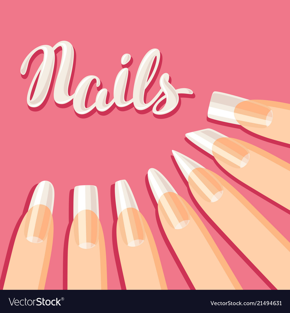 Acrylic Nail Shapes Set Vector Image