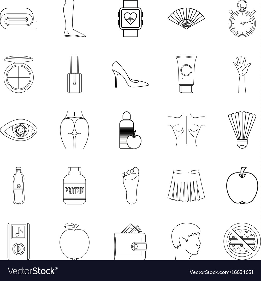 Beautiful body icons set outline style vector image
