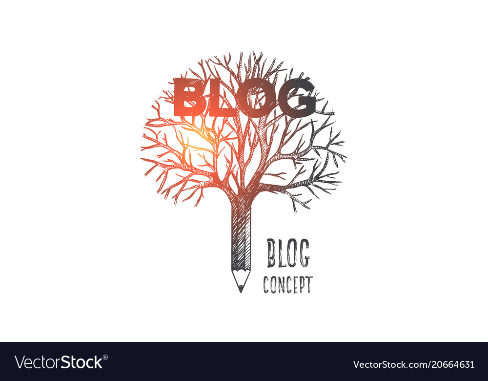Blog concept hand drawn isolated