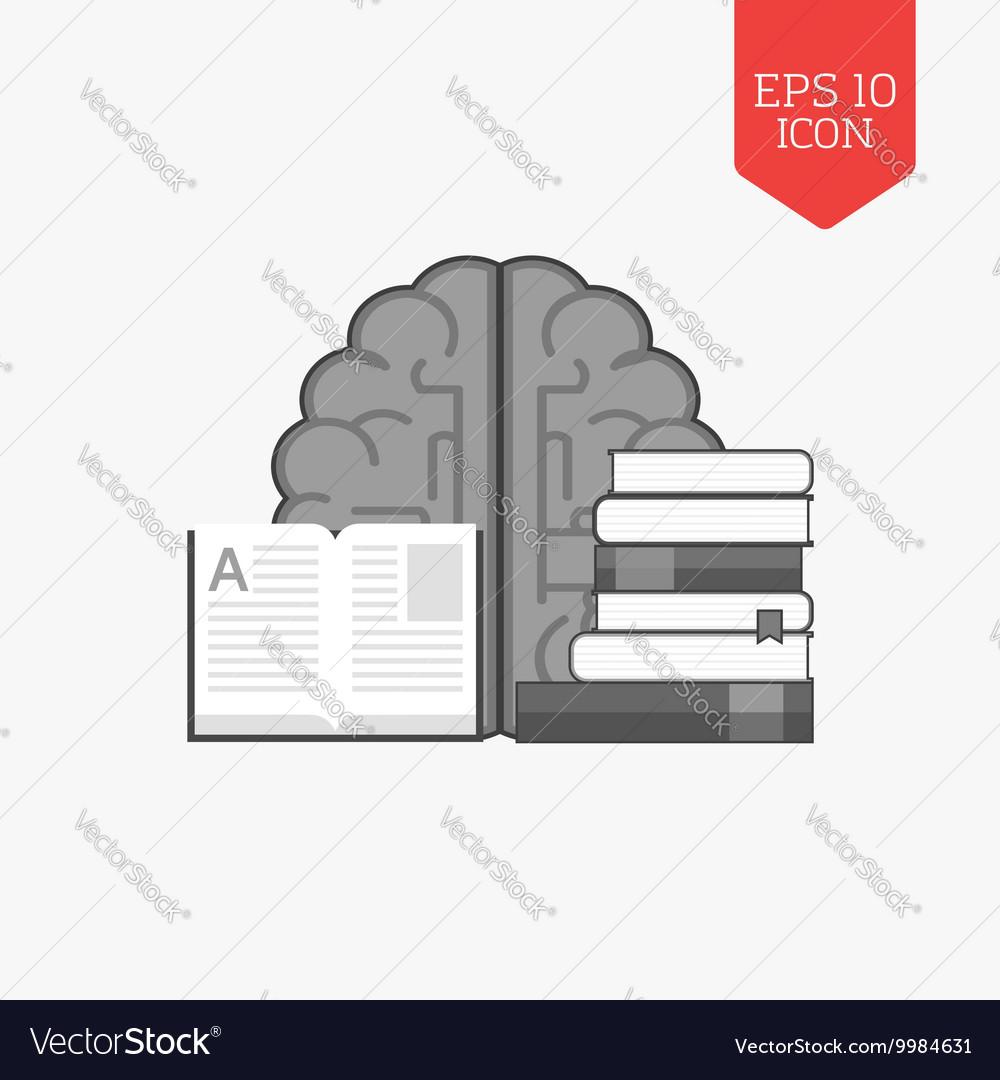 Books and brain icon Education concept Flat design