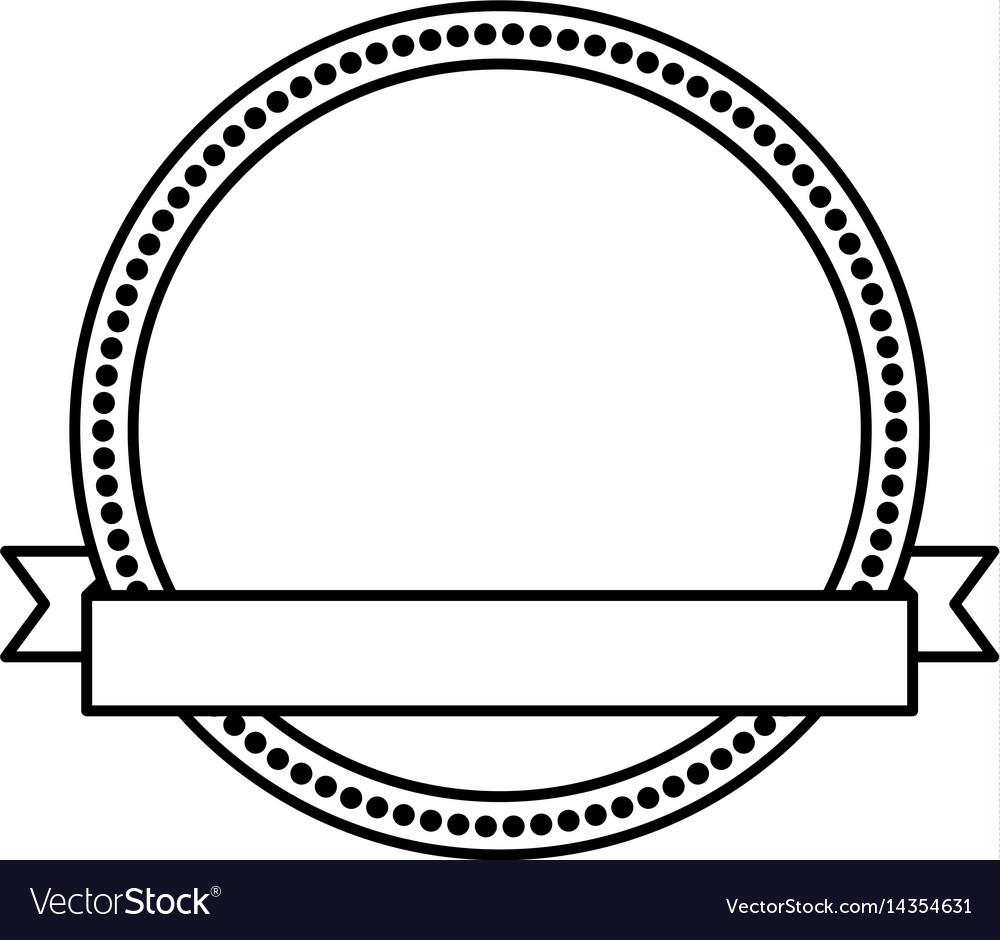 Circle seal stamp with ribbon frame