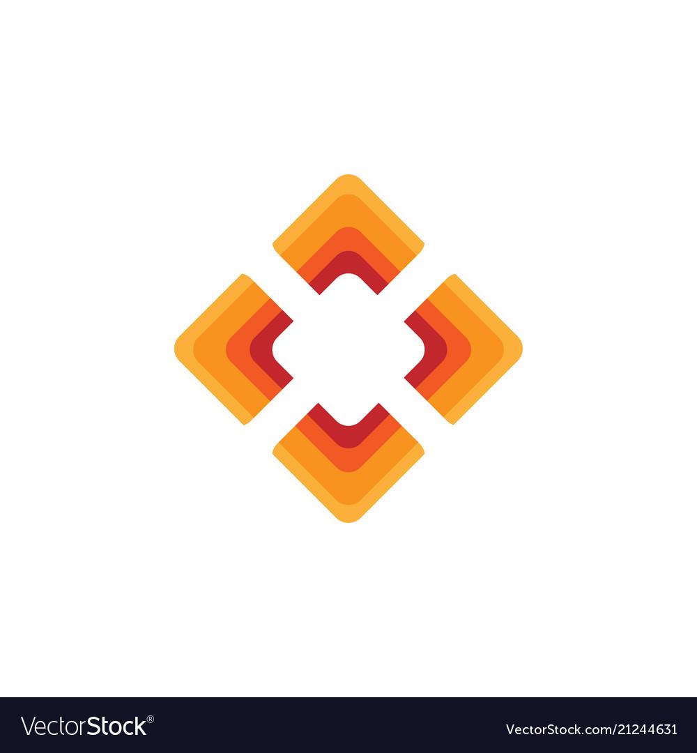 Elegant square diamond shape with orange color