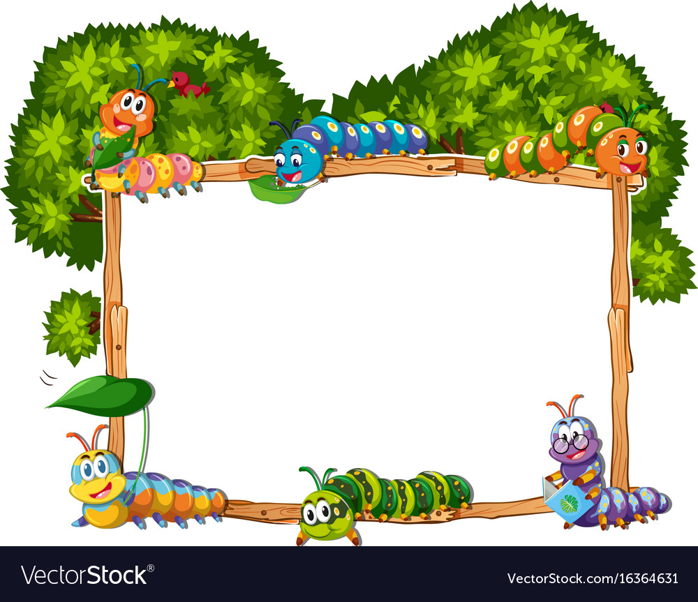 Frame template with caterpillar and tree Vector Image