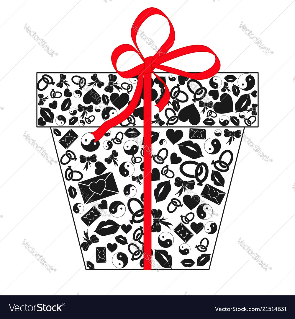 Gift box with bow made of black valentines day
