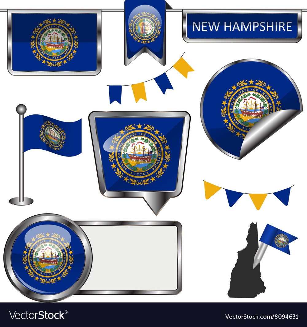 Glossy icons with New Hampshirite flag vector image