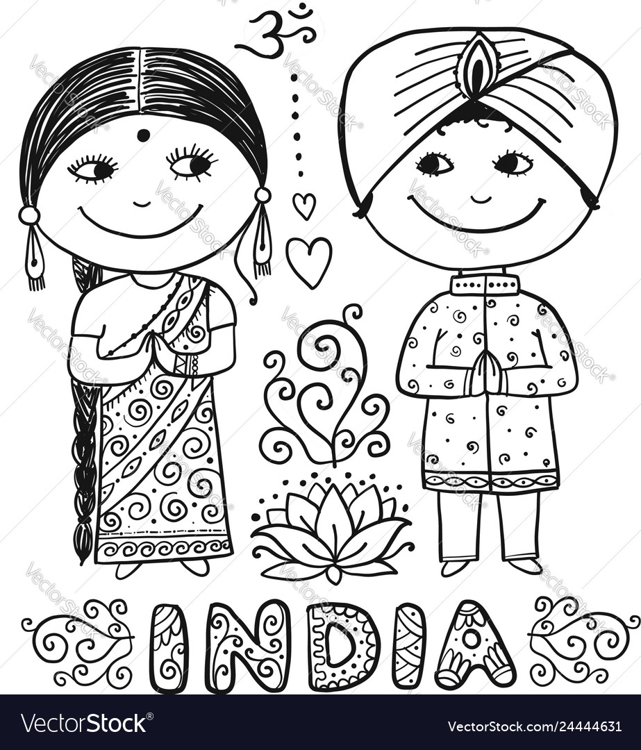 Indian people sketch for your design
