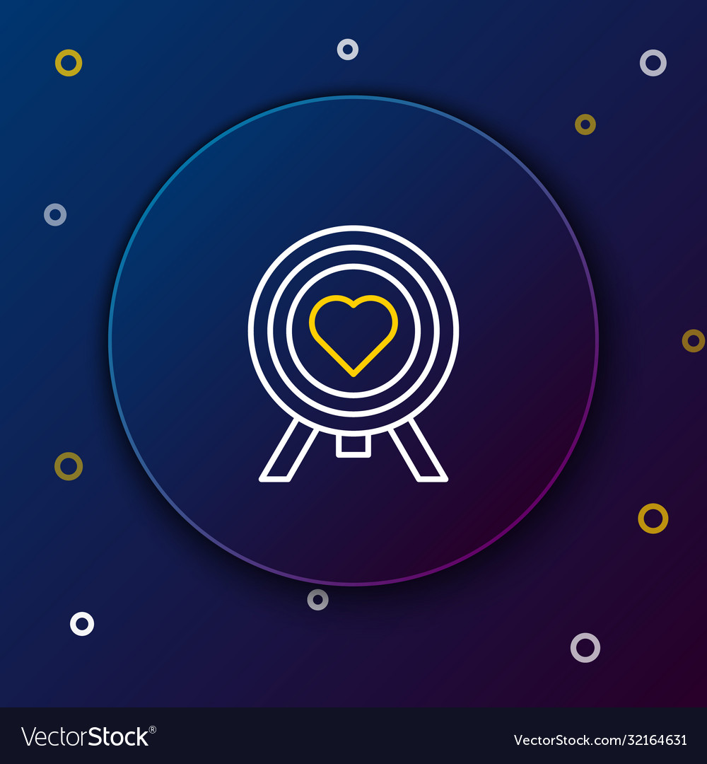 line heart in center darts target aim icon vector image line heart in center darts target aim icon vector image