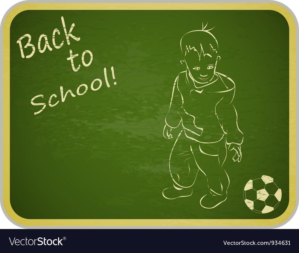 Little Boy with Ball on Retro School Board