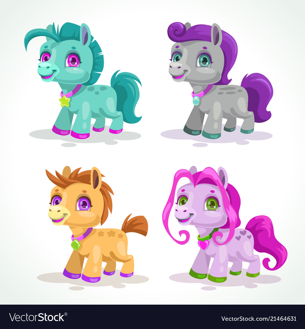 Little cute colorful pony characters