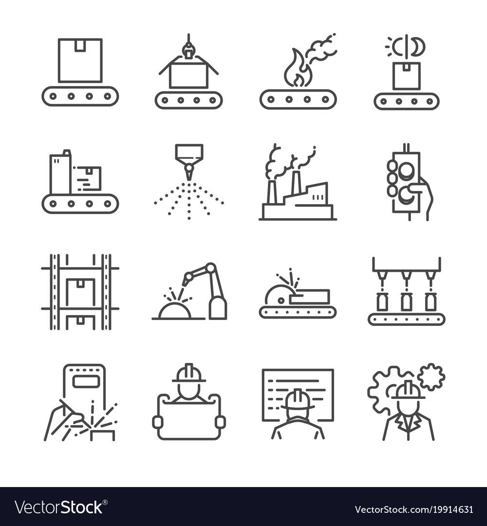 Manufacturing line icon set