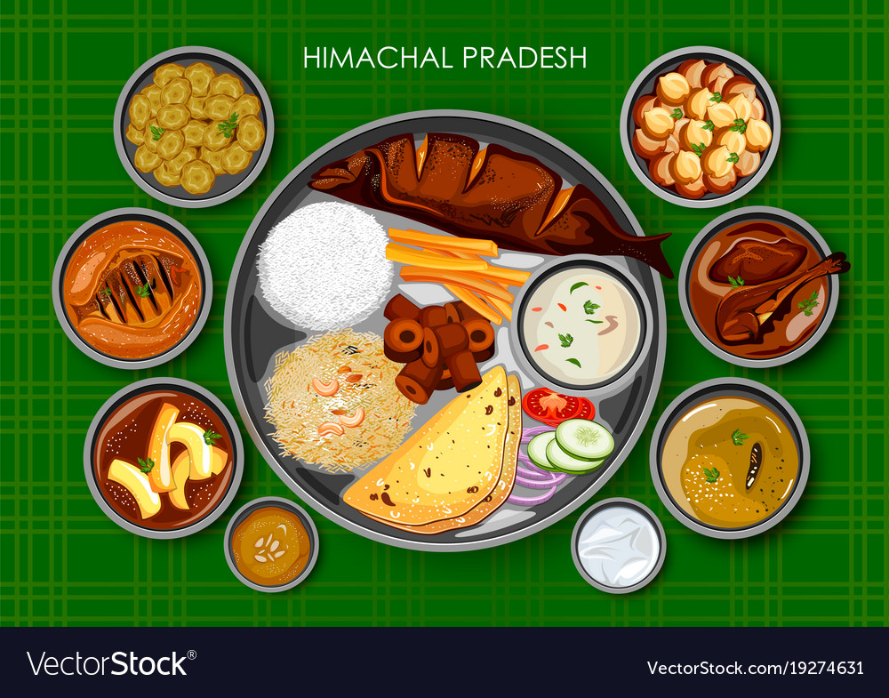 Traditional himachali cuisine and food meal thali