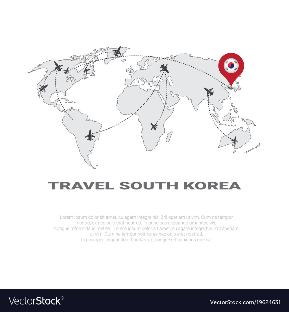 Travel to south korea poster world map background Vector Image