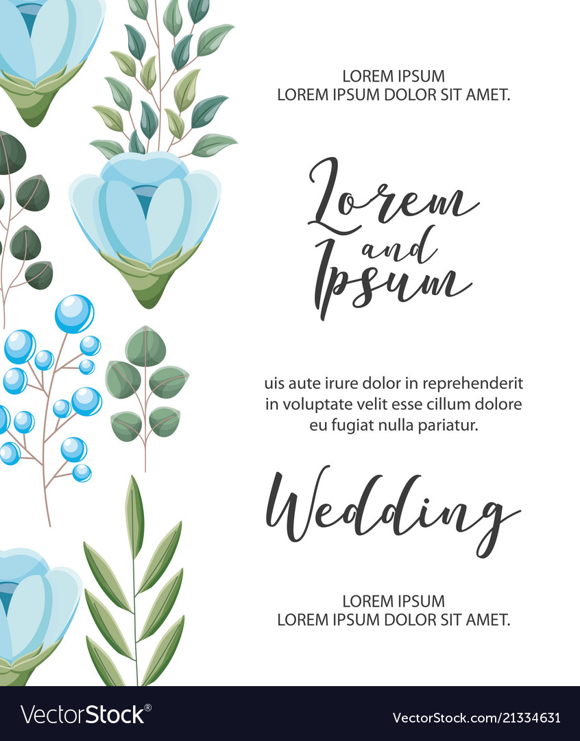Wedding invitation card flowers branch decoration vector image junglespirit Images
