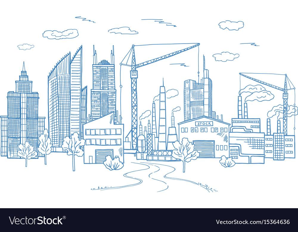 Big city landscape with different buildings