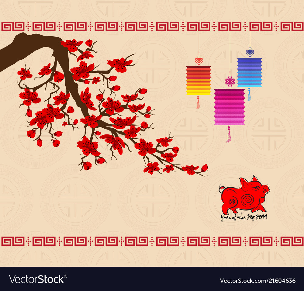 Chinese new year 2019 background with cherry