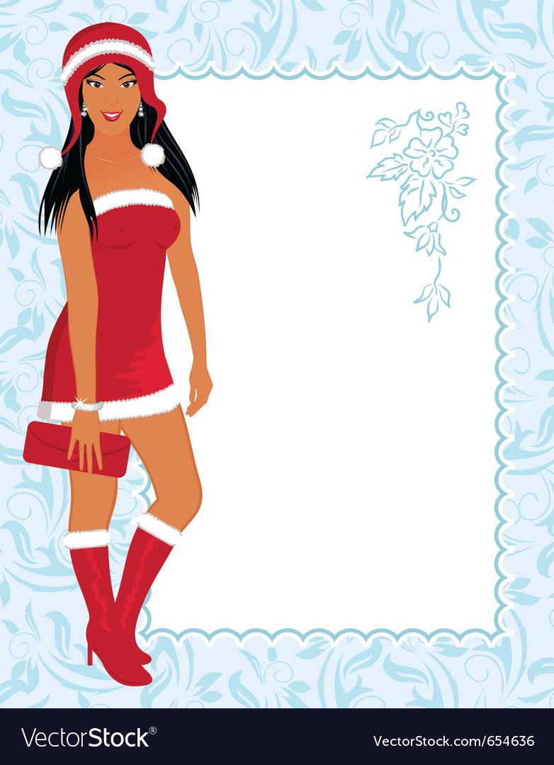 Christmas girl with invitation vector image