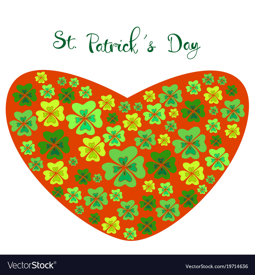 Color clover in the shape of a heart on st