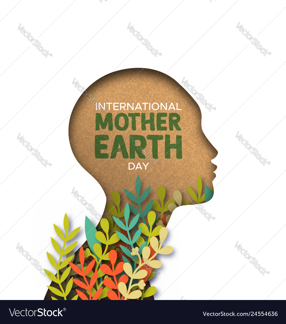 Earth day card of papercut woman head with leaves