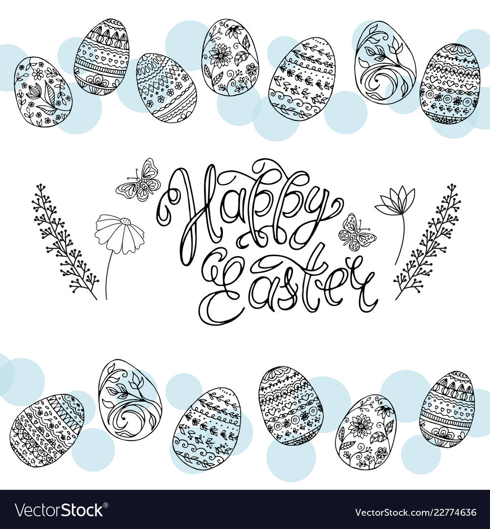 Easter eggs and hand-written calligraphic inscript