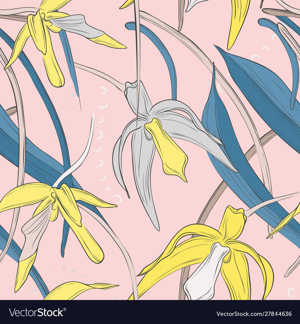 Exotic botanical tender orchid bouquet pattern